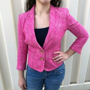 Juicy Couture Pink Cropped Tweed Blazer
